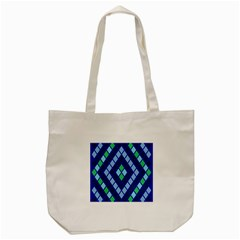 Blue Diamonds Green Grey Plaid Line Chevron Tote Bag (cream) by Mariart