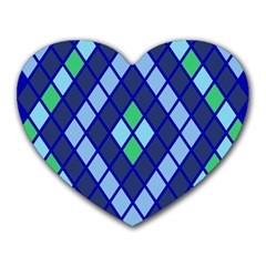 Blue Diamonds Green Grey Plaid Line Chevron Heart Mousepads by Mariart