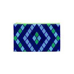 Blue Diamonds Green Grey Plaid Line Chevron Cosmetic Bag (xs) by Mariart