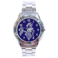 Capricorn Zodiac Star Stainless Steel Analogue Watch by Mariart