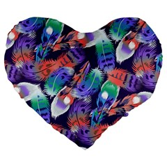 Bird Feathers Color Rainbow Animals Fly Large 19  Premium Heart Shape Cushions by Mariart