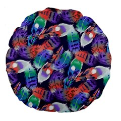 Bird Feathers Color Rainbow Animals Fly Large 18  Premium Flano Round Cushions by Mariart