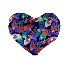 Bird Feathers Color Rainbow Animals Fly Standard 16  Premium Flano Heart Shape Cushions by Mariart