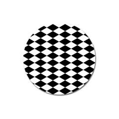 Diamond Black White Plaid Chevron Magnet 3  (round) by Mariart