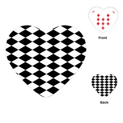 Diamond Black White Plaid Chevron Playing Cards (heart)  by Mariart
