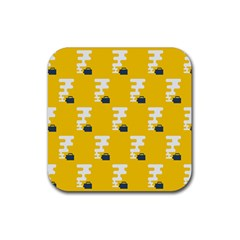 Fog Machine Fogging White Smoke Yellow Rubber Square Coaster (4 Pack)  by Mariart