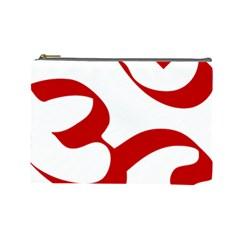 Hindu Om Symbol (red) Cosmetic Bag (large)  by abbeyz71