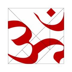 Hindu Om Symbol (red) Acrylic Tangram Puzzle (6  X 6 ) by abbeyz71