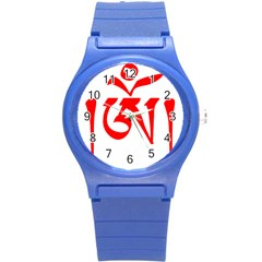 Tibetan Om Symbol (red) Round Plastic Sport Watch (s) by abbeyz71