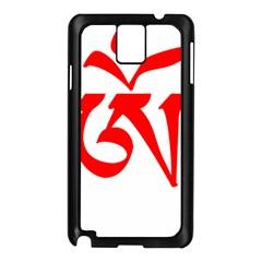 Tibetan Om Symbol (red) Samsung Galaxy Note 3 N9005 Case (black) by abbeyz71
