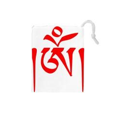 Tibetan Om Symbol (red) Drawstring Pouches (small)  by abbeyz71