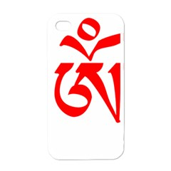 Tibetan Om Symbol (red) Apple Iphone 4 Case (white) by abbeyz71