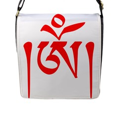 Tibetan Om Symbol (red) Flap Messenger Bag (l)  by abbeyz71