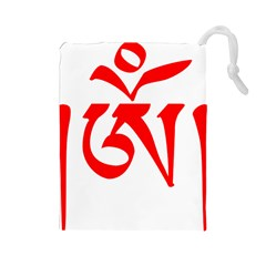 Tibetan Om Symbol (red) Drawstring Pouches (large)  by abbeyz71