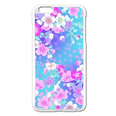 Flowers Cute Pattern Apple Iphone 6 Plus/6s Plus Enamel White Case by Nexatart