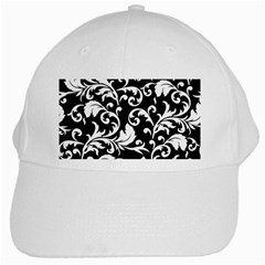 Black And White Floral Patterns White Cap by Nexatart