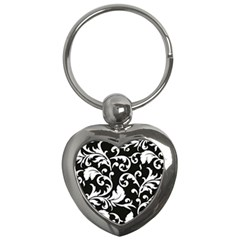 Black And White Floral Patterns Key Chains (heart)  by Nexatart