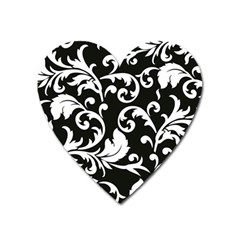 Black And White Floral Patterns Heart Magnet by Nexatart