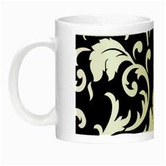 Black And White Floral Patterns Night Luminous Mugs by Nexatart