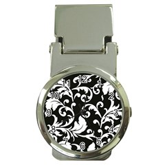 Black And White Floral Patterns Money Clip Watches by Nexatart