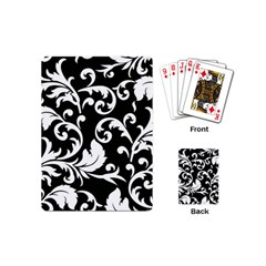 Black And White Floral Patterns Playing Cards (mini)  by Nexatart