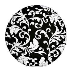 Black And White Floral Patterns Round Filigree Ornament (two Sides) by Nexatart