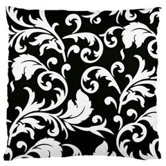 Black And White Floral Patterns Large Cushion Case (two Sides) by Nexatart