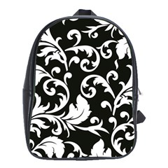 Black And White Floral Patterns School Bags (xl)  by Nexatart