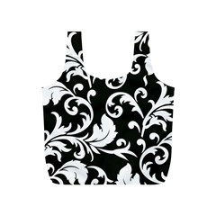 Black And White Floral Patterns Full Print Recycle Bags (s)  by Nexatart