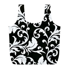 Black And White Floral Patterns Full Print Recycle Bags (l)  by Nexatart