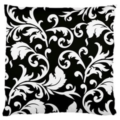 Black And White Floral Patterns Standard Flano Cushion Case (two Sides) by Nexatart