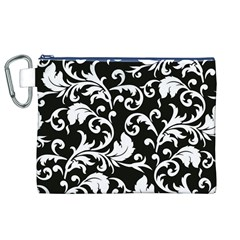 Black And White Floral Patterns Canvas Cosmetic Bag (xl) by Nexatart