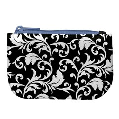 Black And White Floral Patterns Large Coin Purse by Nexatart