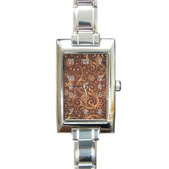 Gold And Brown Background Patterns Rectangle Italian Charm Watch by Nexatart