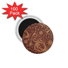 Gold And Brown Background Patterns 1 75  Magnets (100 Pack)  by Nexatart