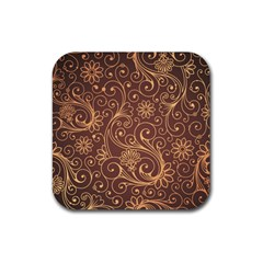 Gold And Brown Background Patterns Rubber Square Coaster (4 Pack)  by Nexatart