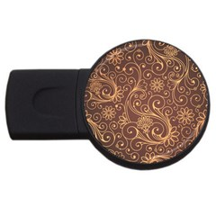 Gold And Brown Background Patterns Usb Flash Drive Round (2 Gb) by Nexatart