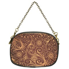 Gold And Brown Background Patterns Chain Purses (one Side)  by Nexatart