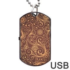 Gold And Brown Background Patterns Dog Tag Usb Flash (two Sides) by Nexatart