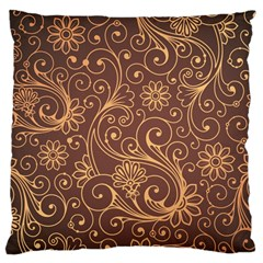 Gold And Brown Background Patterns Large Cushion Case (two Sides) by Nexatart