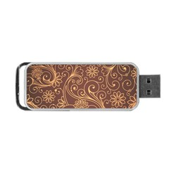 Gold And Brown Background Patterns Portable Usb Flash (one Side) by Nexatart