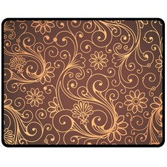 Gold And Brown Background Patterns Double Sided Fleece Blanket (medium)  by Nexatart