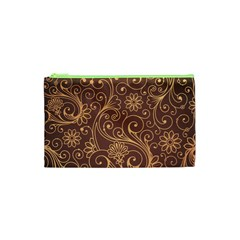 Gold And Brown Background Patterns Cosmetic Bag (xs) by Nexatart