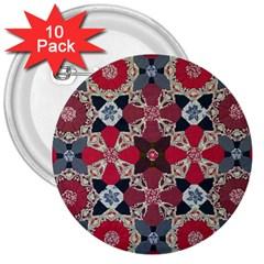 Beautiful Art Pattern 3  Buttons (10 Pack)  by Nexatart