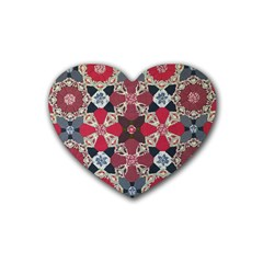 Beautiful Art Pattern Rubber Coaster (heart)  by Nexatart