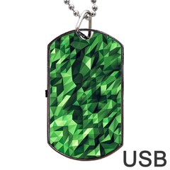 Green Attack Dog Tag Usb Flash (two Sides) by Nexatart