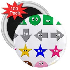 Cute Symbol 3  Magnets (100 Pack) by Nexatart