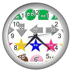 Cute Symbol Wall Clocks (silver)  by Nexatart