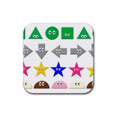 Cute Symbol Rubber Square Coaster (4 Pack)  by Nexatart