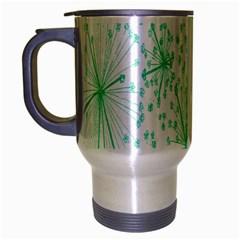 Pattern Floralgreen Travel Mug (silver Gray) by Nexatart